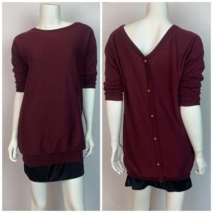 Charming Charlie Button Back Top Burgundy Small